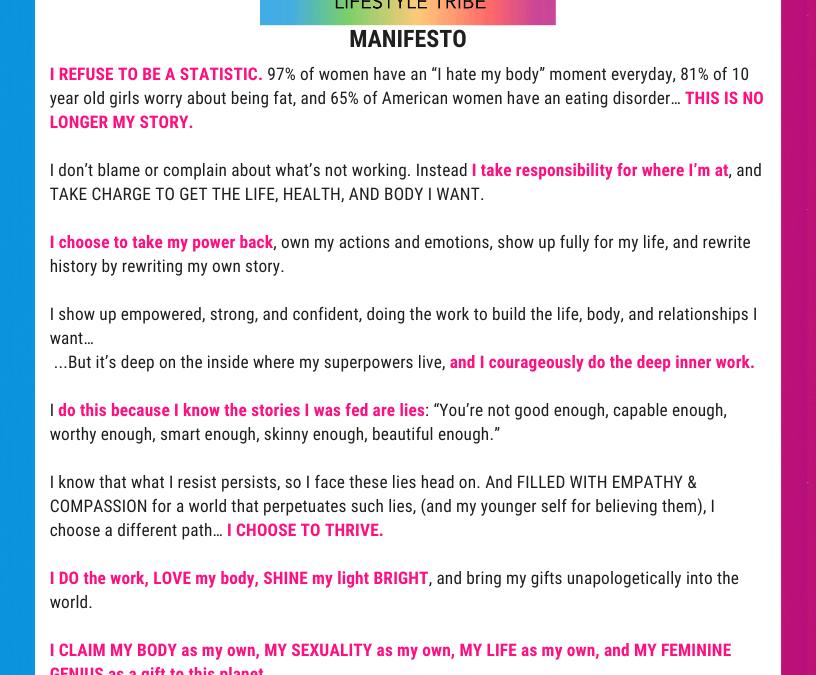 Love it 2 Lose it: Manifesto & Mission